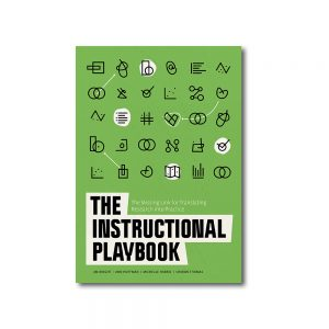 """Photo displays the cover of the book, """"The Instructional Playbook: The Missing Link for Translating Research into Practice"""""""